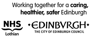 Working together for a caring, healthier, safer Edinburgh. NHS Lothian Logo, Edinburgh City Council Logo