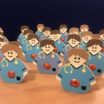 A picture of paper doll physiotherapists