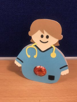 A picture of a paper doll physiotherapist