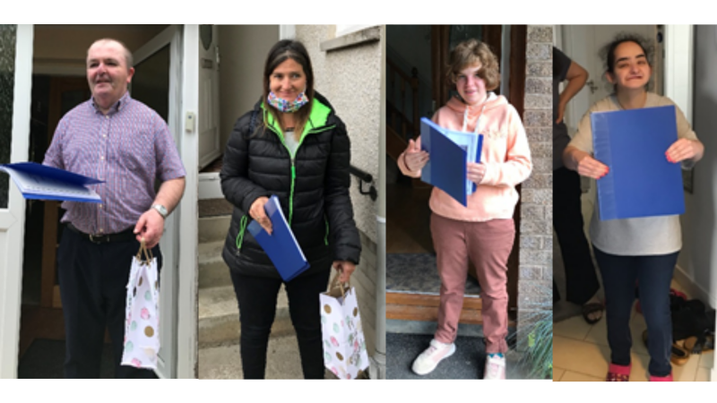 A collage of four people standing in front of their front doors holding a blue folder containing a certificate